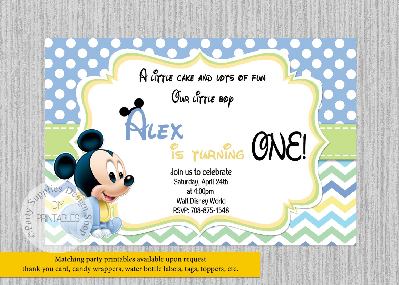 Baby Mickey Mouse Birthday Invitations Baby 1st Birthday | Etsy