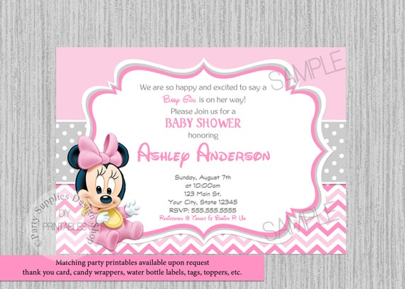 Printed Or Digital Disney Baby Minnie Mouse Baby Shower Etsy