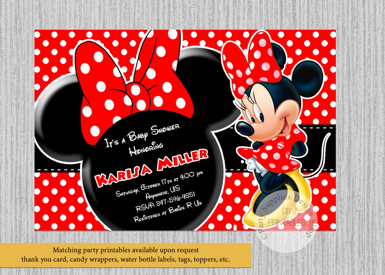 Red Minnie Baby Shower Invitations Minnie Baby Shower | Etsy