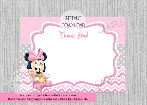 Baby Minnie Mouse 1st Birthday Thank You Card Instant Download Diy Printable Invitations Baby Minnie Baby Shower Thank You Card