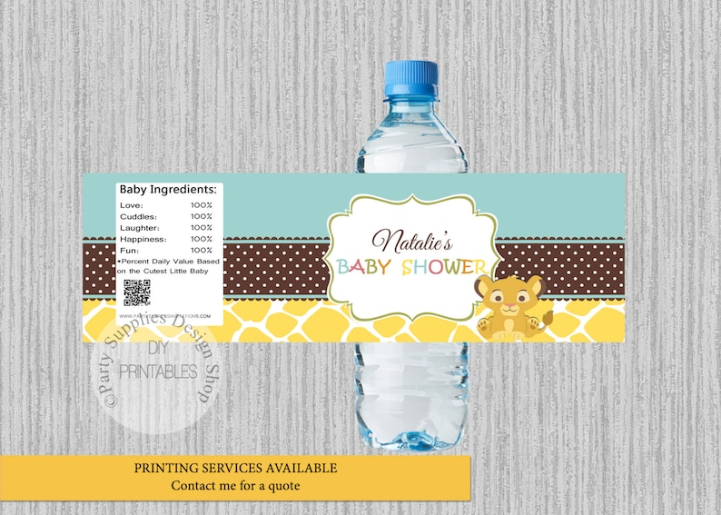 Baby Simba Lion King Baby Shower Water Bottle Labels Simba Etsy
