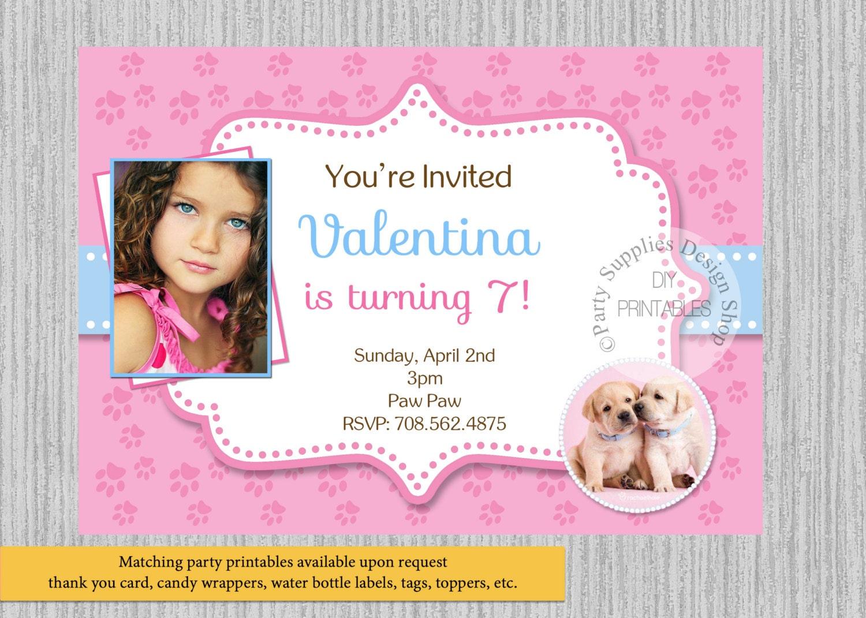 Invitaciones de cumpleaños de perros lindos cachorros rosa