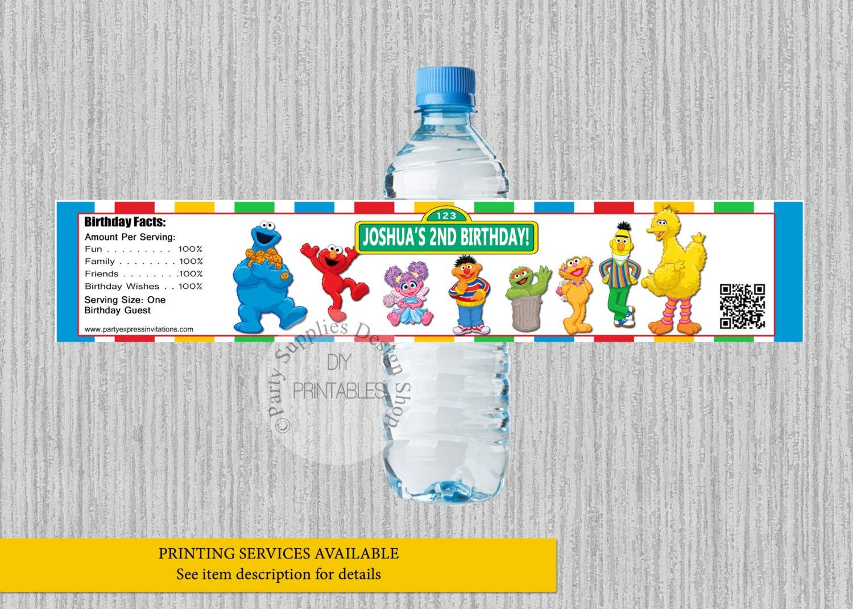 Sesame Street Birthday Water Bottle Labels Elmo Personalized | Etsy