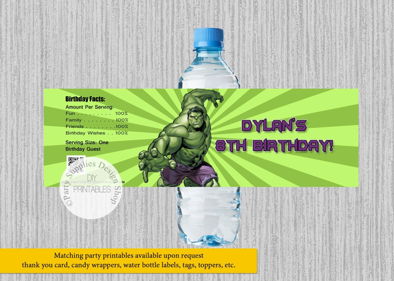 Etiquetas De Botella Agua Cumpleaos Increible Hulk Etsy Saldo Tmr 50