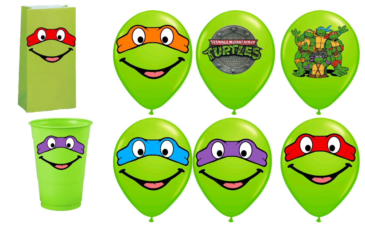 Tmnt Ninja Turtles Printables For Balloons Instant Download Etsy
