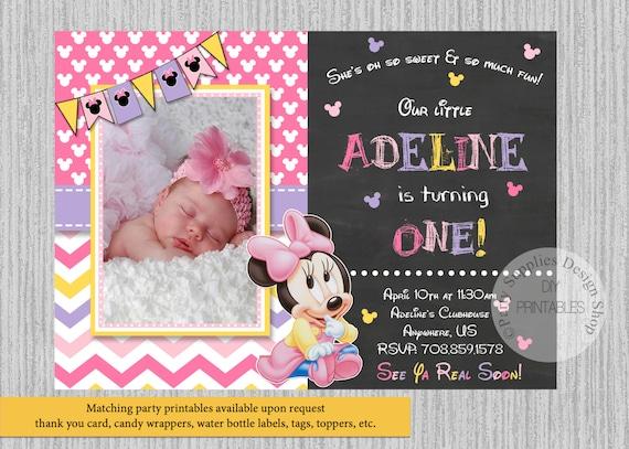 Baby Minnie Mouse Birthday Invitations Baby Minnie 1st