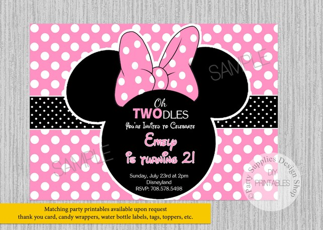 Pink Minnie Mouse Birthday Invitations ANY AGE Party DIY Printable Supplies