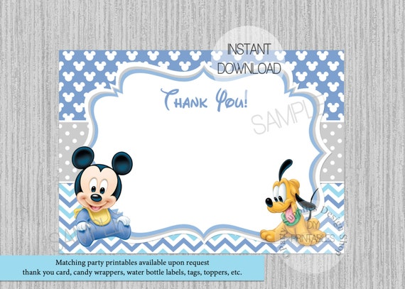 Baby Mickey Mouse Baby Shower Thank You Card Instant Etsy