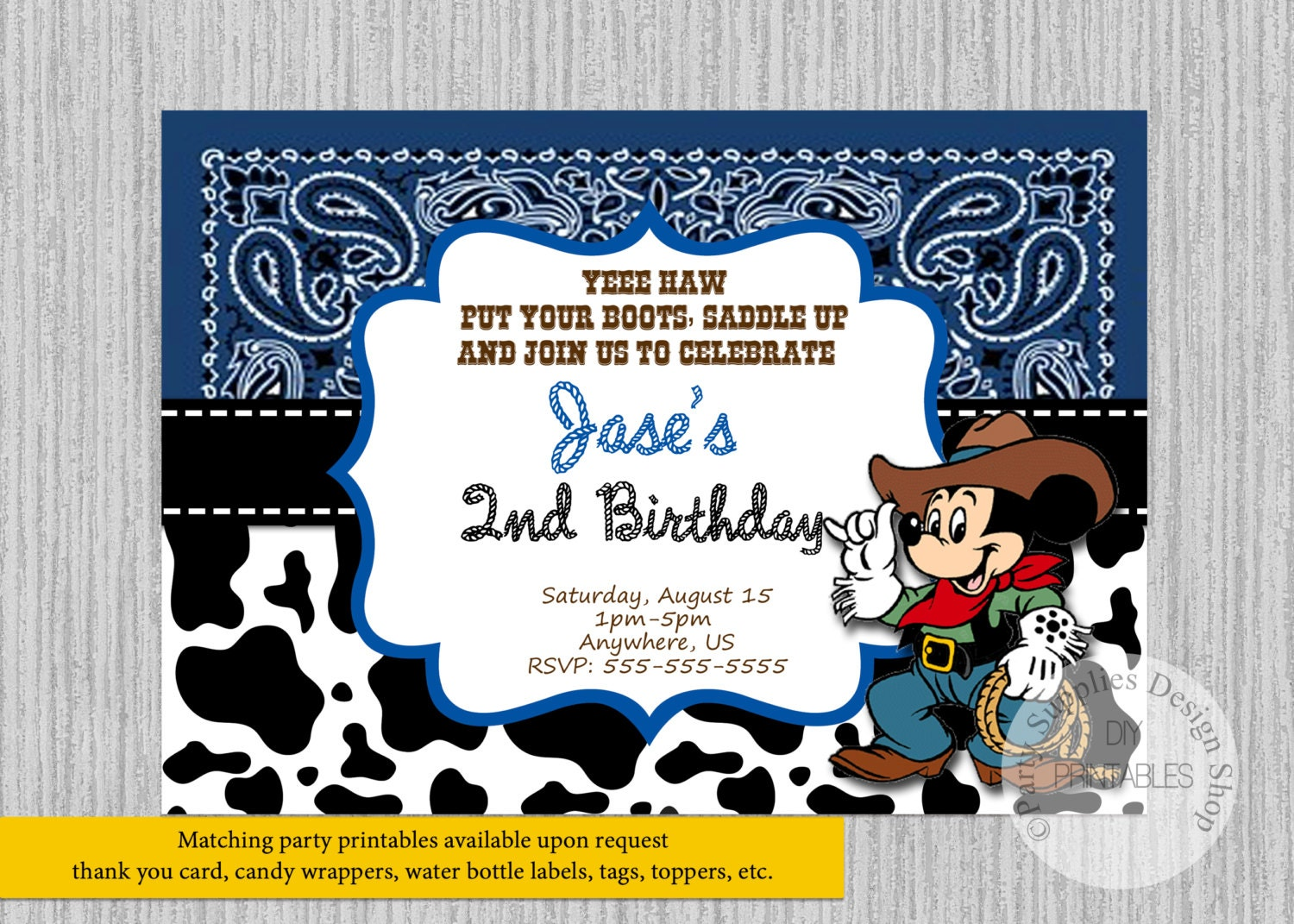 PRINTED or Digital Cowboy Mickey Mouse Birthday Invitations | Etsy