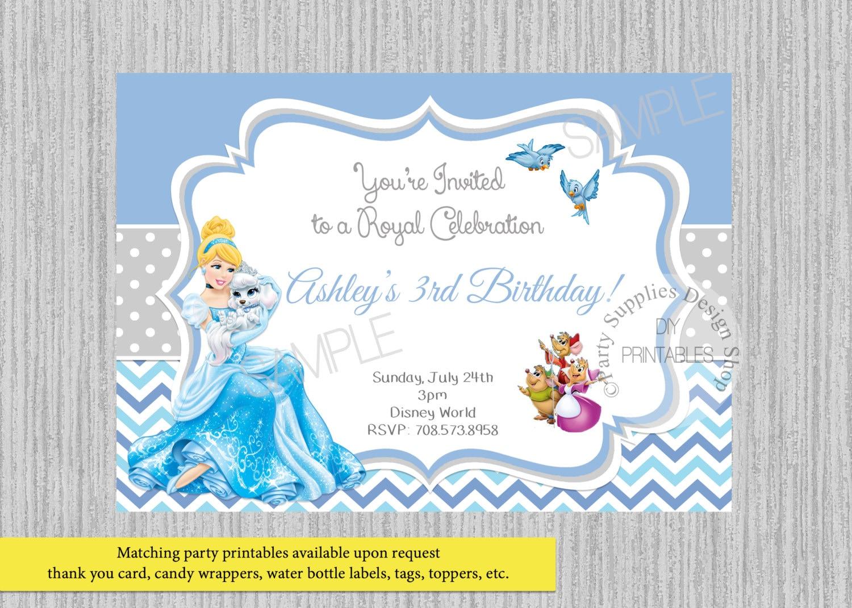 Princess Cinderella Birthday Invitations Cinderella Chevron | Etsy