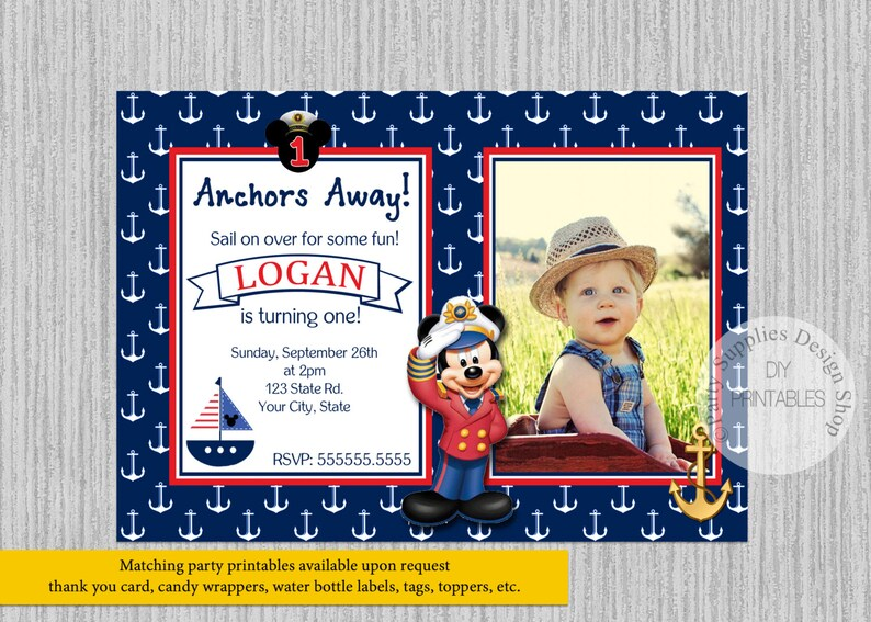 Printed Or Digital Mickey Mouse Sailor Birthday Invitations Sailor Mickey Party Supplies Nautical Mickey Printable Invitations Ahoy