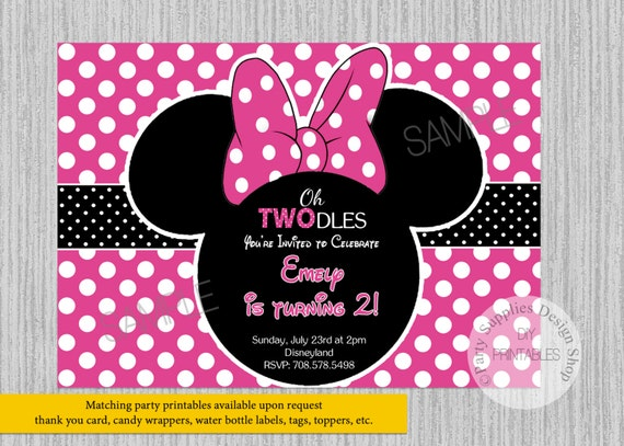 PRINTED Or Digital Hot Pink Minnie Mouse Birthday Invitations