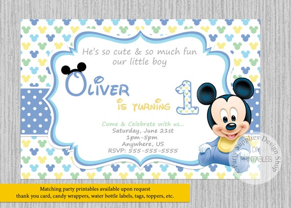 PRINTED Or Digital Baby Mickey Mouse Birthday Invitations