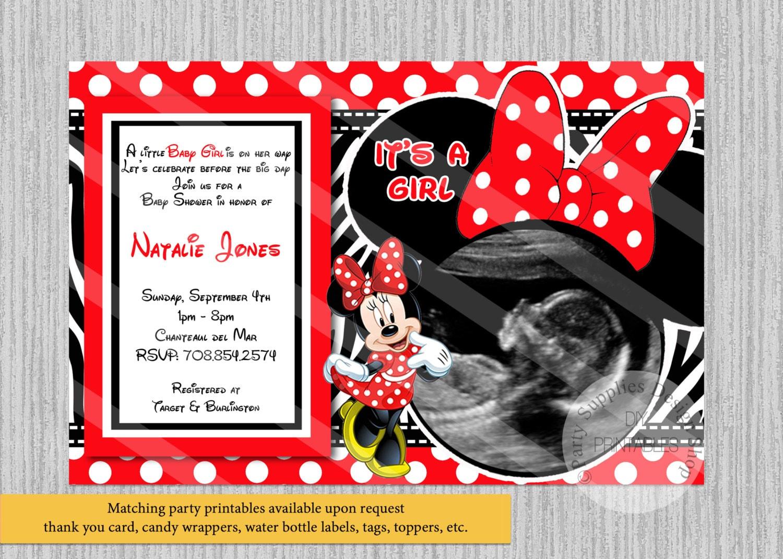 Red Baby Minnie Baby Shower Invitations Ultrasound Minnie | Etsy