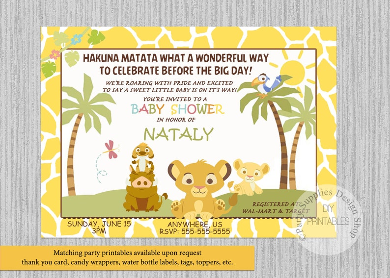 This is a photo of Printable Lion King Baby Shower Invitations with elegant