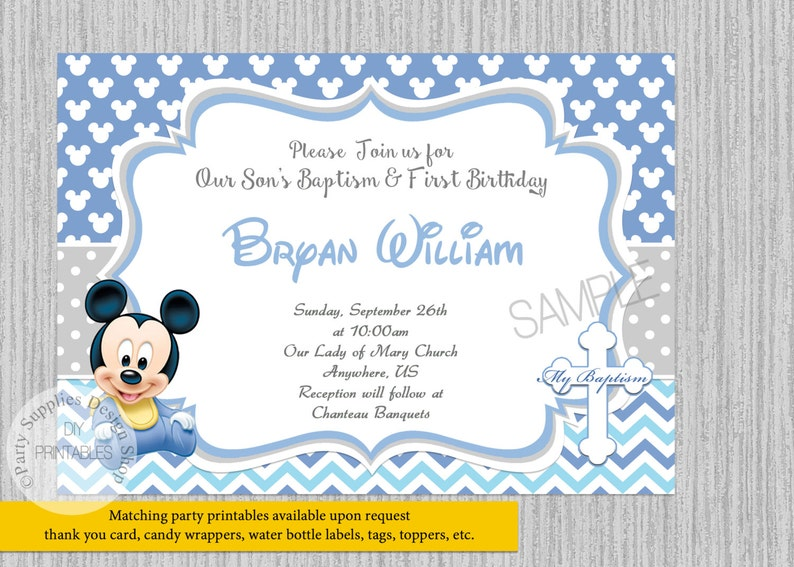 Cute Baby Mickey Mouse 1st Birthday Invitations