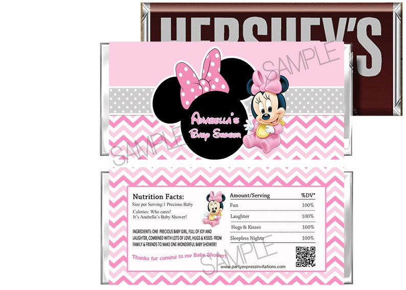 BABY MINNIE MOUSE BABY SHOWER FAVORS CANDY BAR WRAPPERS HERSHEY BAR WRAPPERS