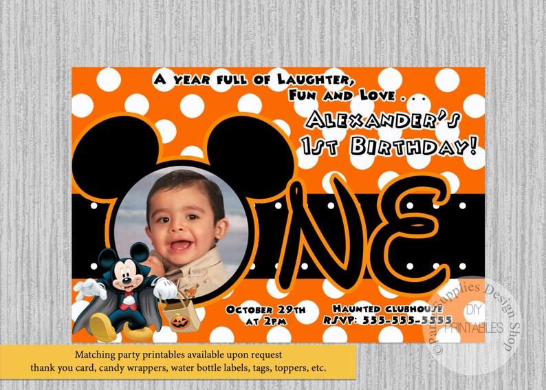 HALLOWEEN Mickey Mouse 1st Birthday Invitations DIY Printable
