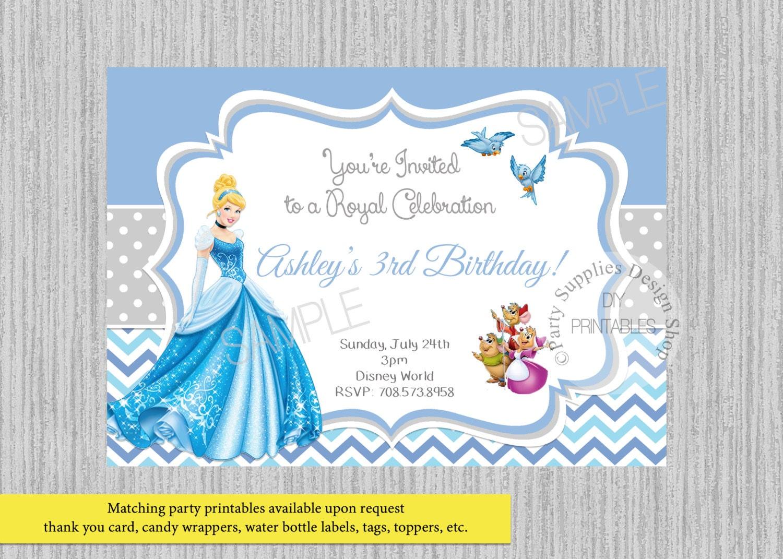 PRINTED or Digital Princess Cinderella Birthday Invitations | Etsy