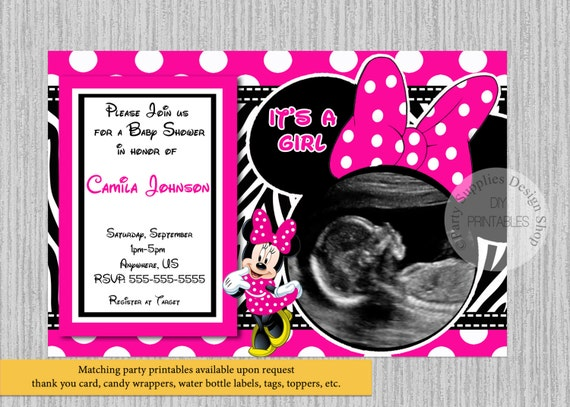 Hot Pink Baby Minnie Baby Shower Invitations Ultrasound Etsy