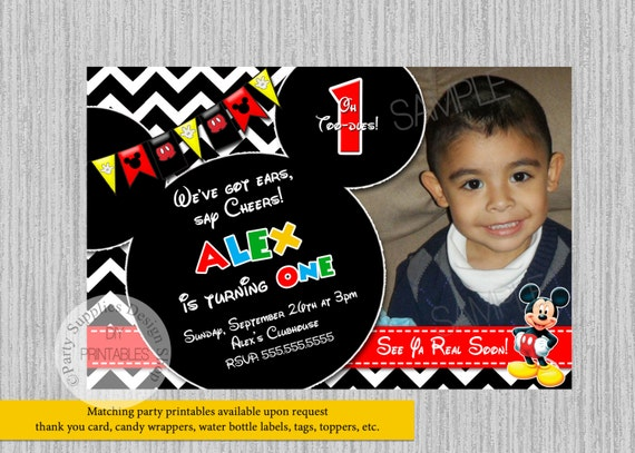 Mickey Mouse 1st Birthday Invitations Clubhouse