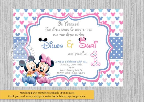 Bliźnięta Dziecko Mickey Minnie Mouse Zaproszenia Urodzinowe Etsy