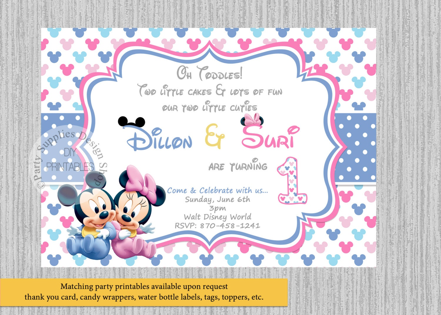TWINS Baby Mickey Minnie Mouse Birthday Invitations Twins | Etsy