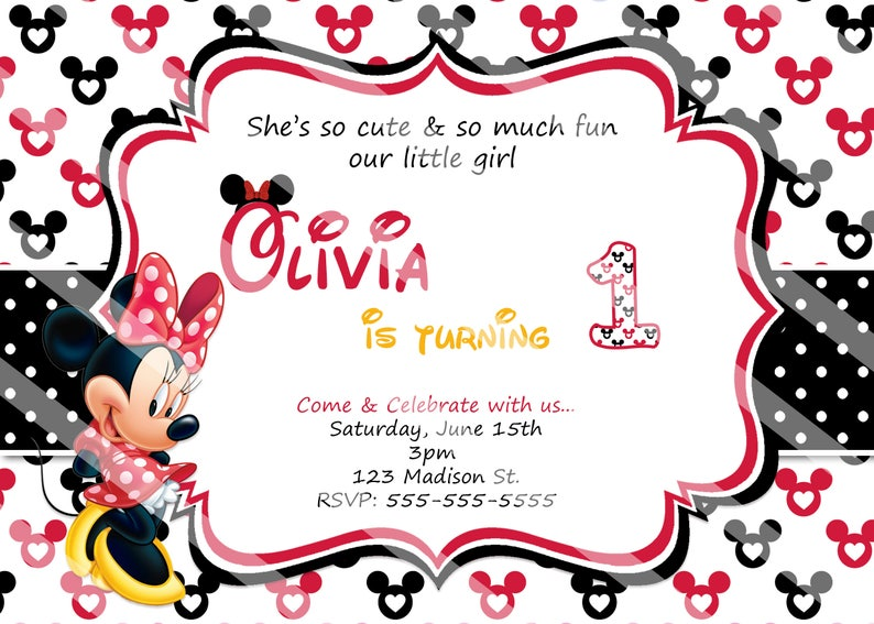 PRINTED Or Digital Red Baby Minnie Mouse Birthday Invitations