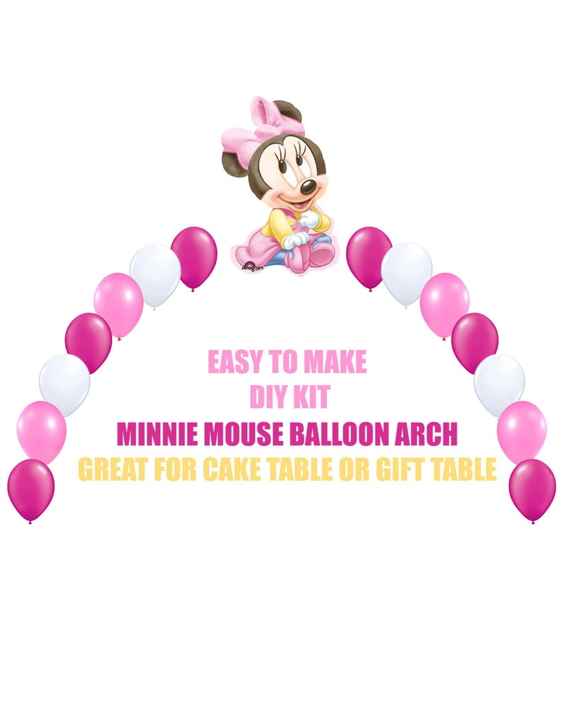 Stupendous Baby Minnie Mouse 1St Birthday Balloons Minnie Party Decor Cake Table Gift Table Diy Kit Easy To Assemble Minnie Balloon Arch Baby Shower Download Free Architecture Designs Intelgarnamadebymaigaardcom
