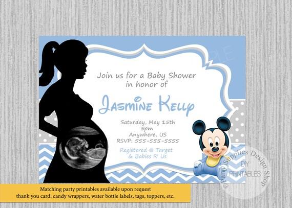 Ultrasound Baby Mickey Baby Shower Invitations Mickey Mouse Etsy
