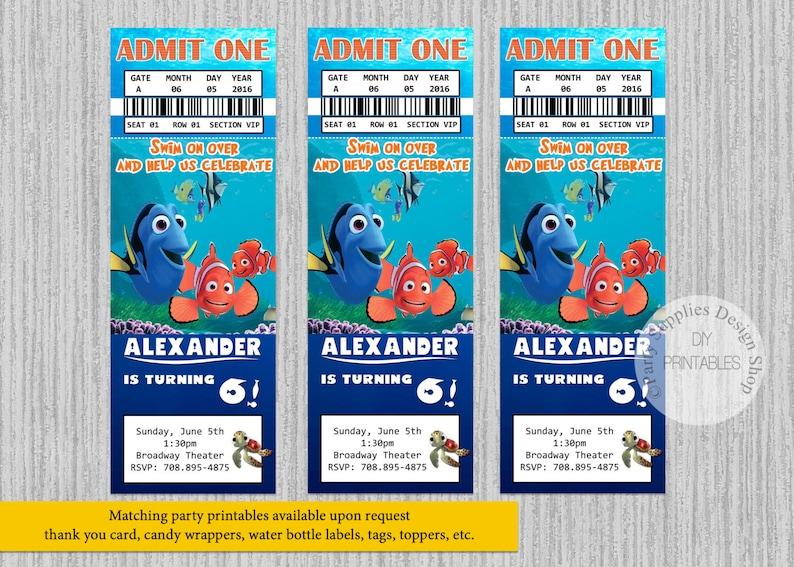 Finding Dory Movie Ticket Birthday Invitations Any Age Finding Dory Birthday Party Invitations Diy Printable Nemo Dory Party Supplies
