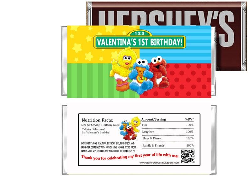 BABY SESAME STREET BIRTHDAY PARTY FAVORS CANDY BAR HERSHEY BAR WRAPPERS