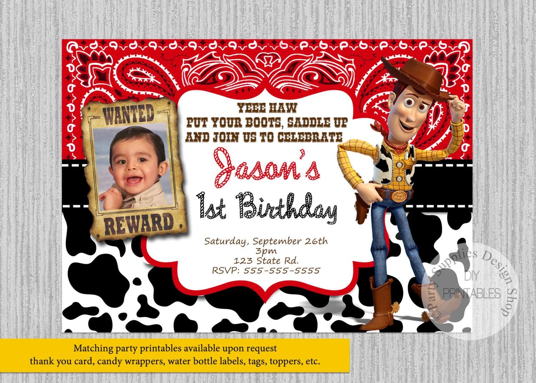 Toy Story Woody Invitaciones De Cumpleanos Invitaciones De Etsy