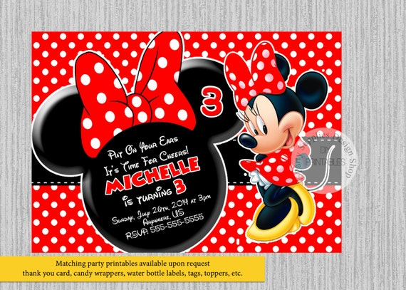 PRINTED Or Digital Minnie Mouse Birthday Invitations Red