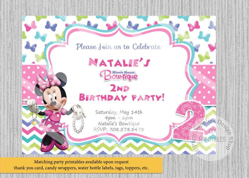 PRINTED Or Digital Bowtique Minnie Mouse Birthday Invitations