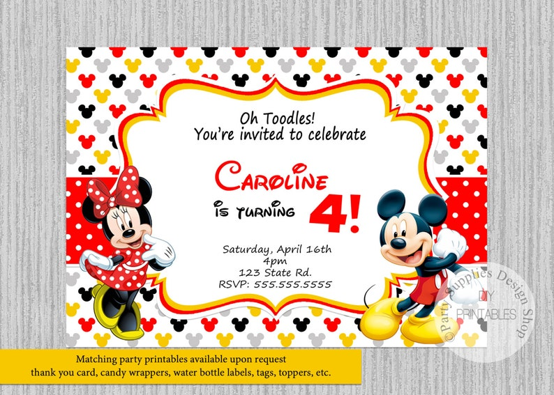 PRINTED Or Digital Mickey Minnie Mouse Birthday Invitations