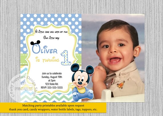 Baby Mickey Mouse Birthday Invitations Baby 1st Birthday Party Invitations Diy Printable Baby Mickey Party Supplies Invitations