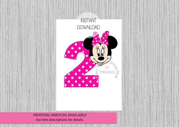 Minnie Mouse T Shirt Design | Heisse Rosa Minnie Mouse 2 Geburtstag Aufbugeln Sofortiger Etsy