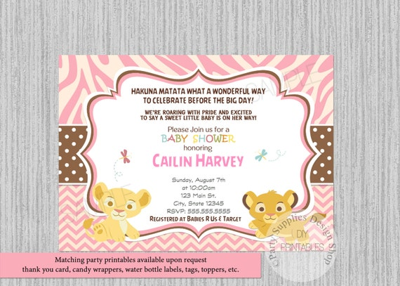 Simba Nala Baby Shower Invitations Simba Lion King Baby Shower Invitations Nala Baby Shower Chevron Invitations Pink Girl Printable