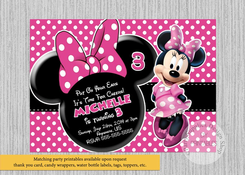 Printed Or Digital Hot Pink Minnie Mouse Birthday Invitations Etsy