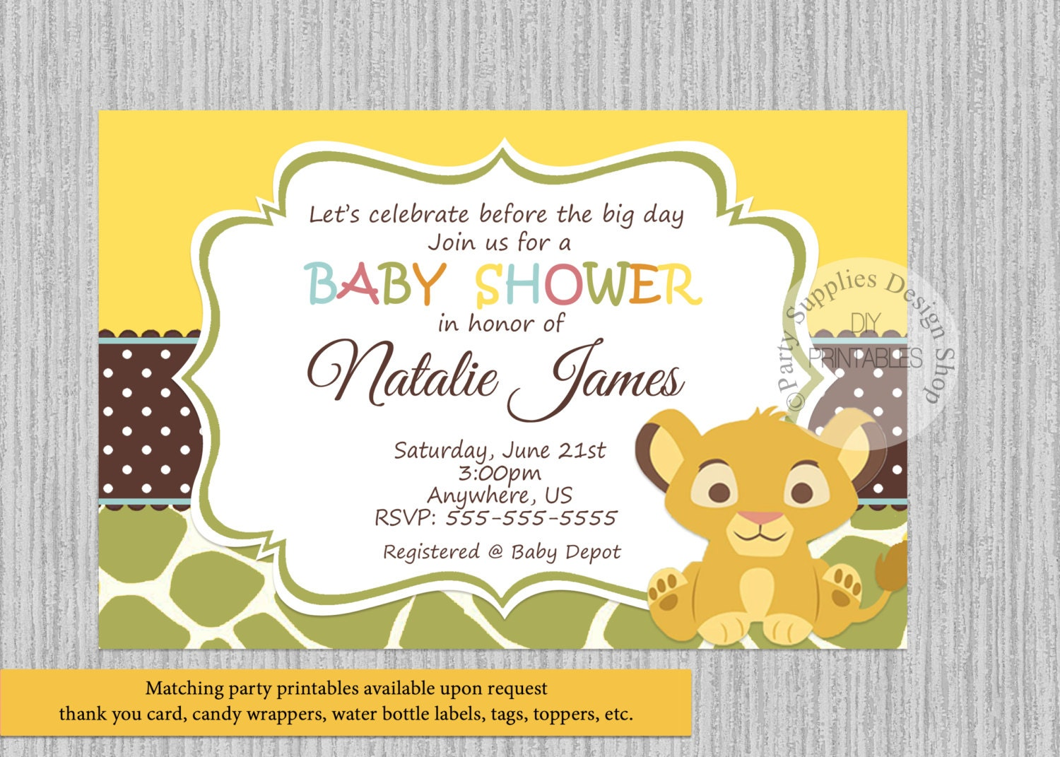 0ed9d9668d6 PRINTED or Digital Baby Simba Lion King Baby Shower