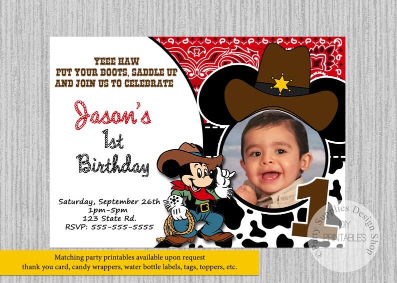 PRINTED Or Digital Cowboy Mickey Mouse Birthday Invitations