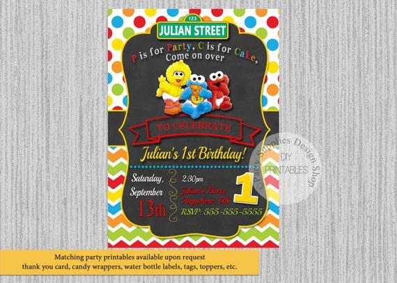 Baby Sesame Street Birthday Invitations Elmo