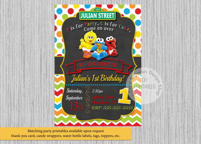 Baby Sesame Street Birthday Invitations Baby Elmo Birthday
