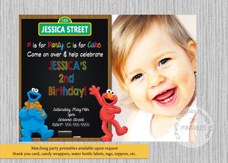 Elmo Sesame Street Birthday Invitations Cookie Monster