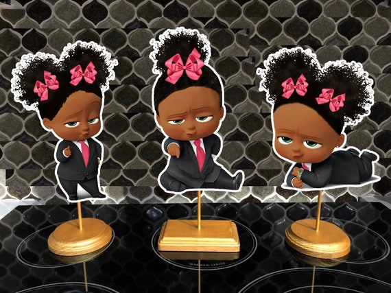 Double Sided Cute African American Boss Baby Shower Party Centerpieces Dark Skinned Boss Baby Girl Boss Baby Decorations Pink Supplies