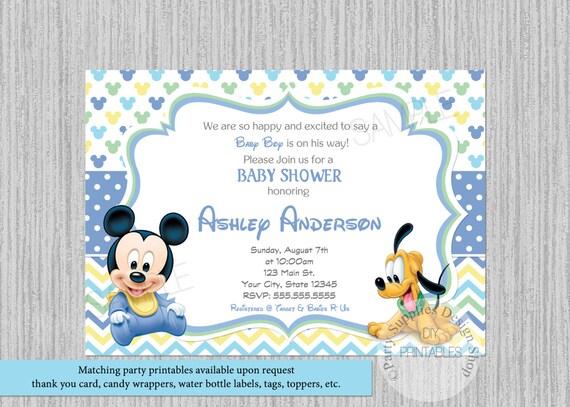 Disney baby mickey mouse baby shower invitations mickey baby etsy image 0 filmwisefo