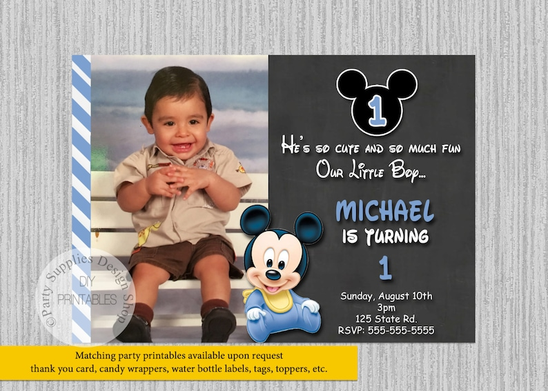 Baby Mickey Mouse 1st Birthday Invitations Blue Chalkboard