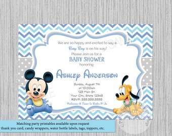 Mickey baby shower etsy printed or digital cute baby mickey mouse baby shower invitations filmwisefo
