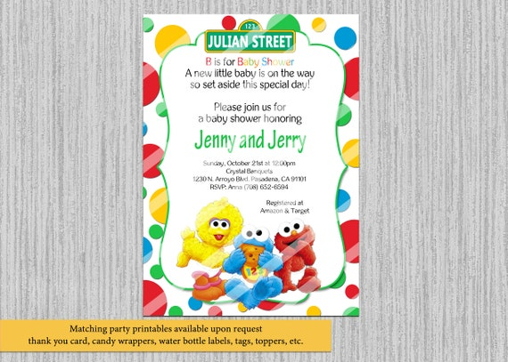 Printed Or Digital Baby Sesame Street Baby Shower Invitations Etsy